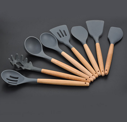 Wooden handle cooking utensil of silicone kitchen utensil set