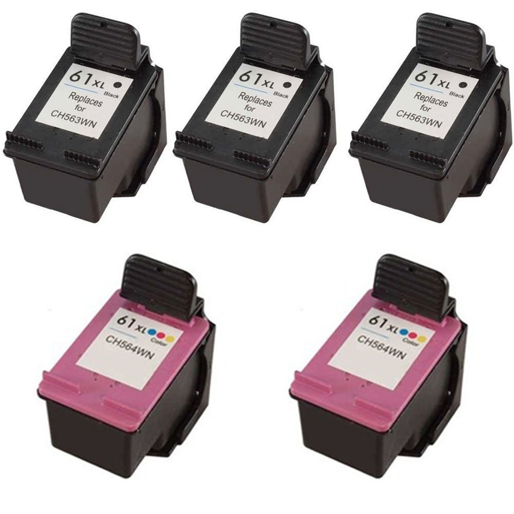 HOTCOLOR Value Set 5 Pack Replacement HP61XL HP 61XL HP 61 XL ink cartridge for For DeskJet 1000 3000 1050 Printer (563WN / CH563WN and 564WN / CH564WN) (3x Black, 2x Color)