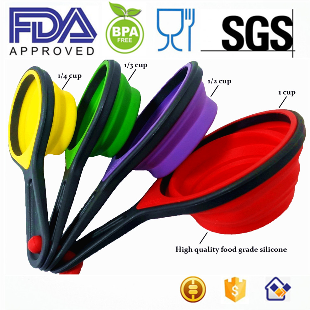 8 Pieces Portable Silicone Measuring Cups U0026 Spoons, Foldable Measuring  Spoon, Collapsible Silicone Measuring