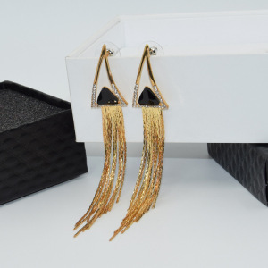 Vintage Triangle Tassel Stud Earrings Faux Suede Fabric Long Long Earring for Women D008
