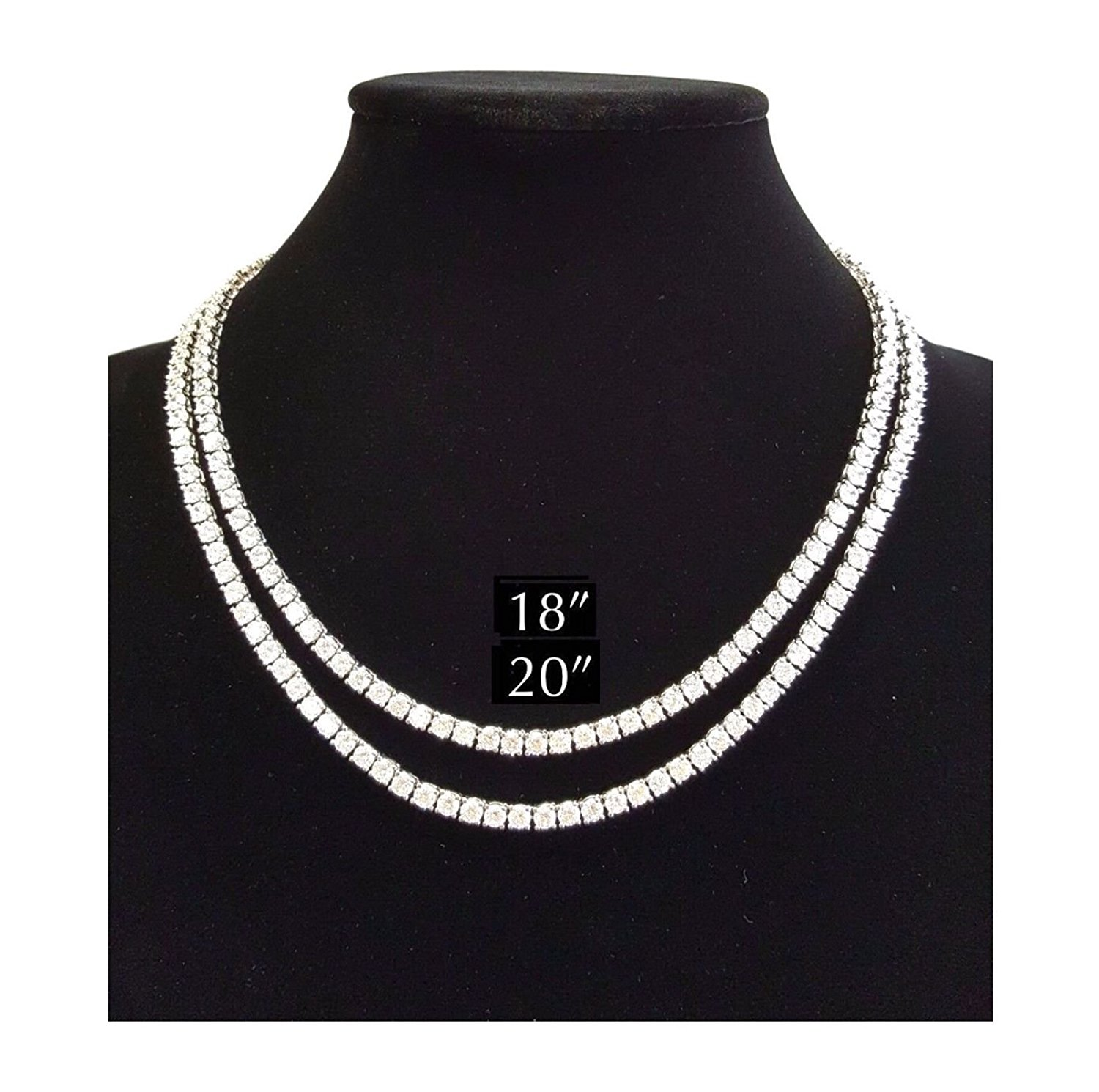 """MENS ICED OUT SINGLE 1 ROW SILVER CZ HIP HOP CHAIN 16"""", 18"""", 20"""", 24"""", 30"""" NECKLACE"""