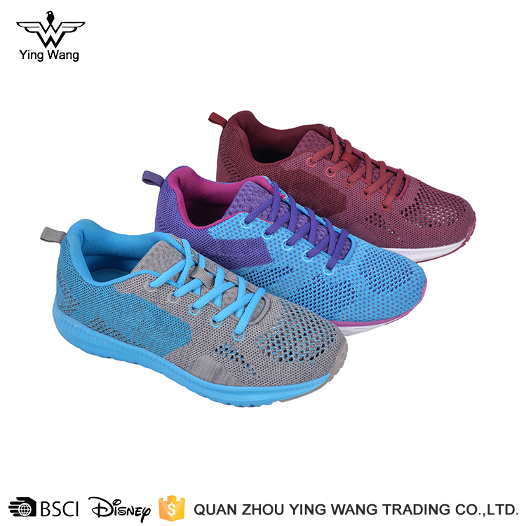 Fly knitting blue comfortable casual running women sport shoes