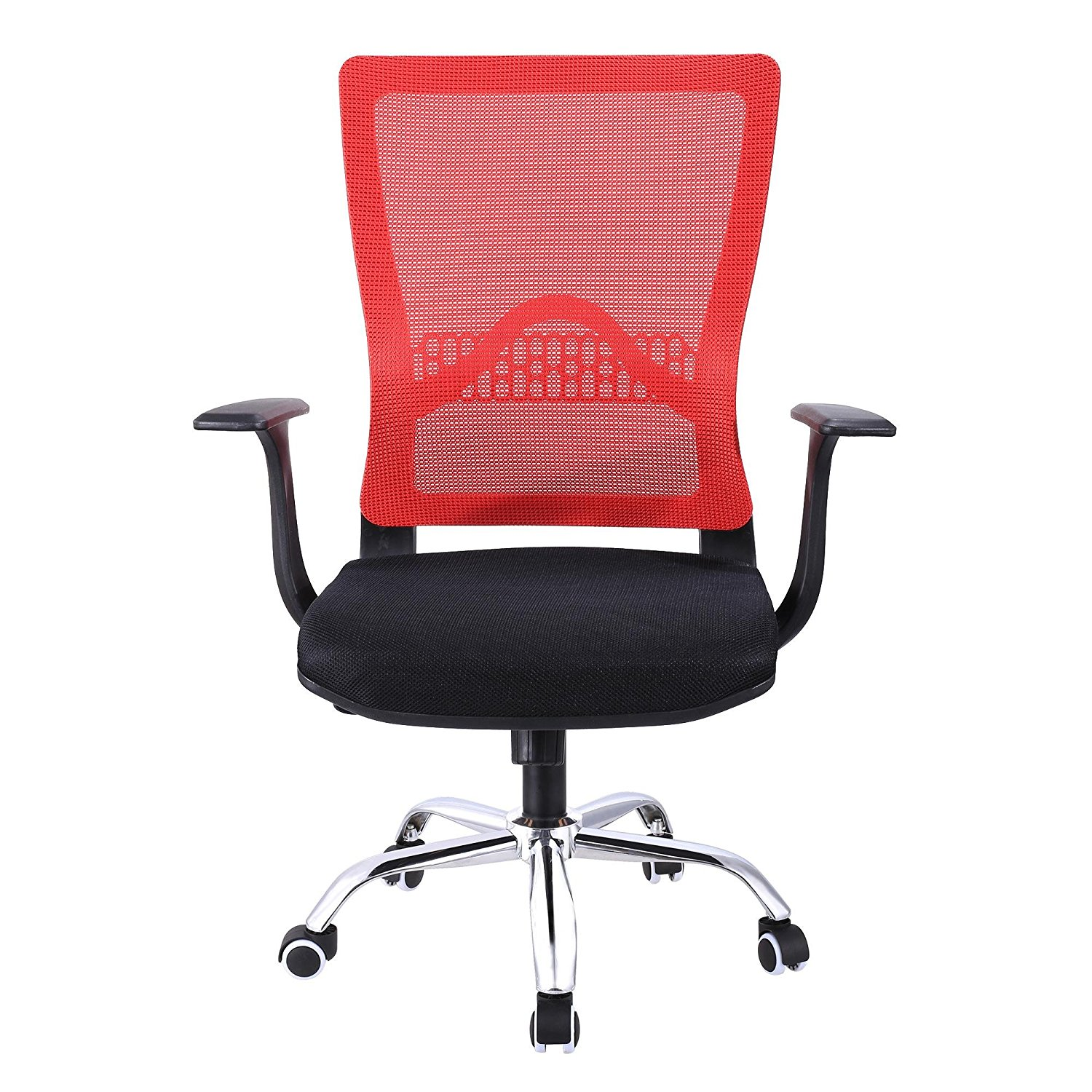 Mid-Back Mesh Swivel Task Chair, Offie Chair with Mesh Padded Seat and Flip-Up Arms, Ergonomic Mesh Office Chair with Adjustable Height for Office and Family(US Stock),Red