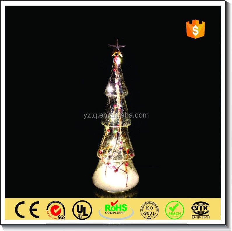 Handmade glass christmas berry tree with led light