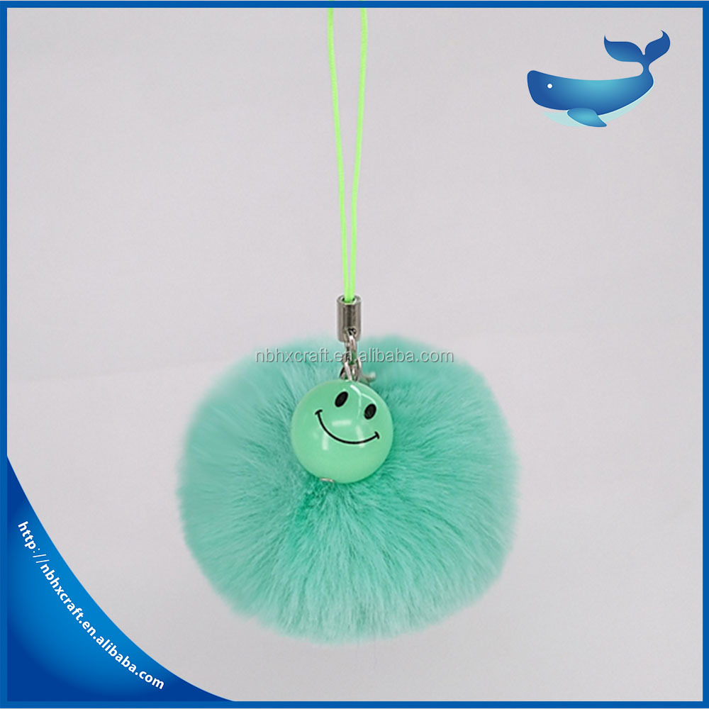 Factory Price Fashion Plush Faux Fur Rabbit smile Shape Keychain Girl's Bag Accessories Car Pendant