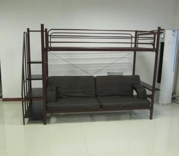 twin over futon sofa metal bunk bed brownish red buy metal bunk bed with sofa bed cheap twin. Black Bedroom Furniture Sets. Home Design Ideas
