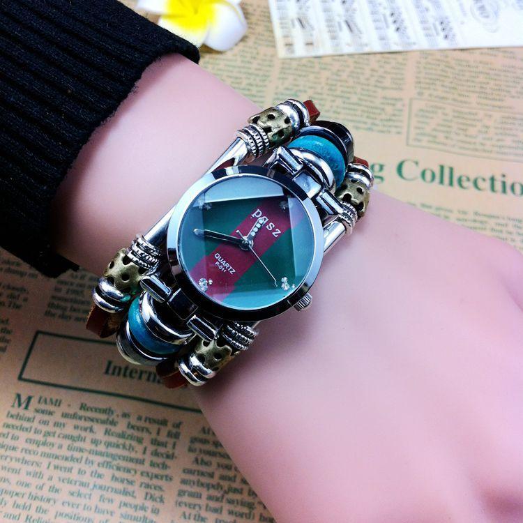 Ретро часы женщин часы мода кожаный ремешок круглый циферблат кварцевые часы B05