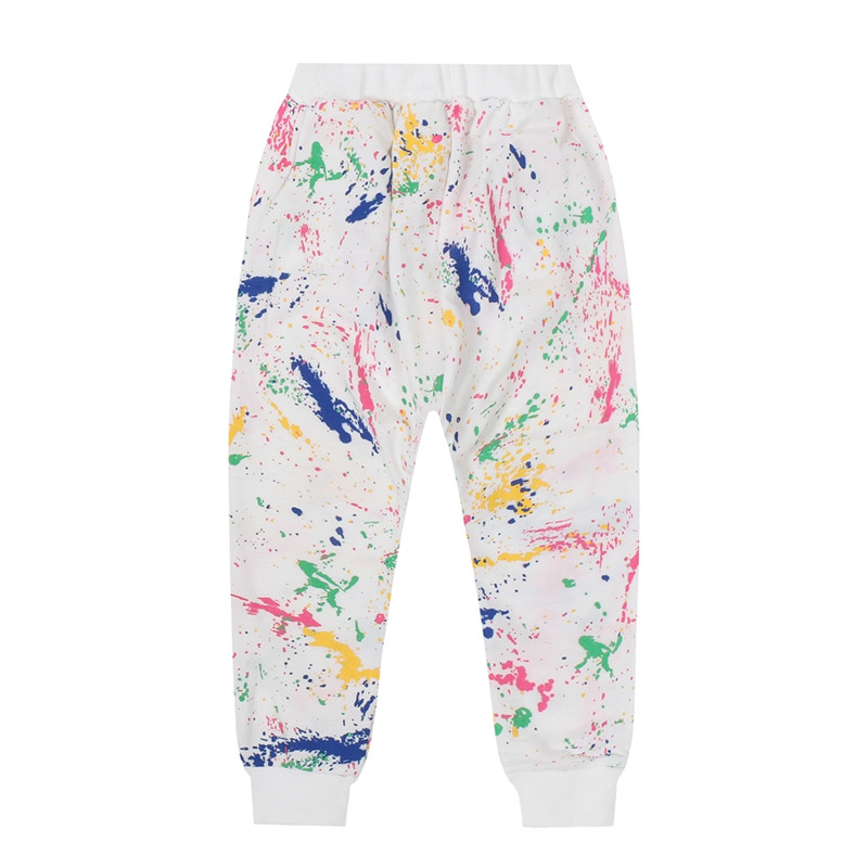 2019 Spring And Autumn New long-sleeved Suit girls Print graffiti Set Small children Two-piece Casual Sports Suits