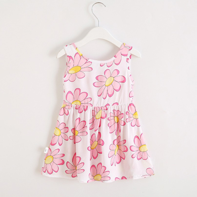New Modern Girl Frock Design Kids Clothes Flower Dress for 2-10 Years Old Girl