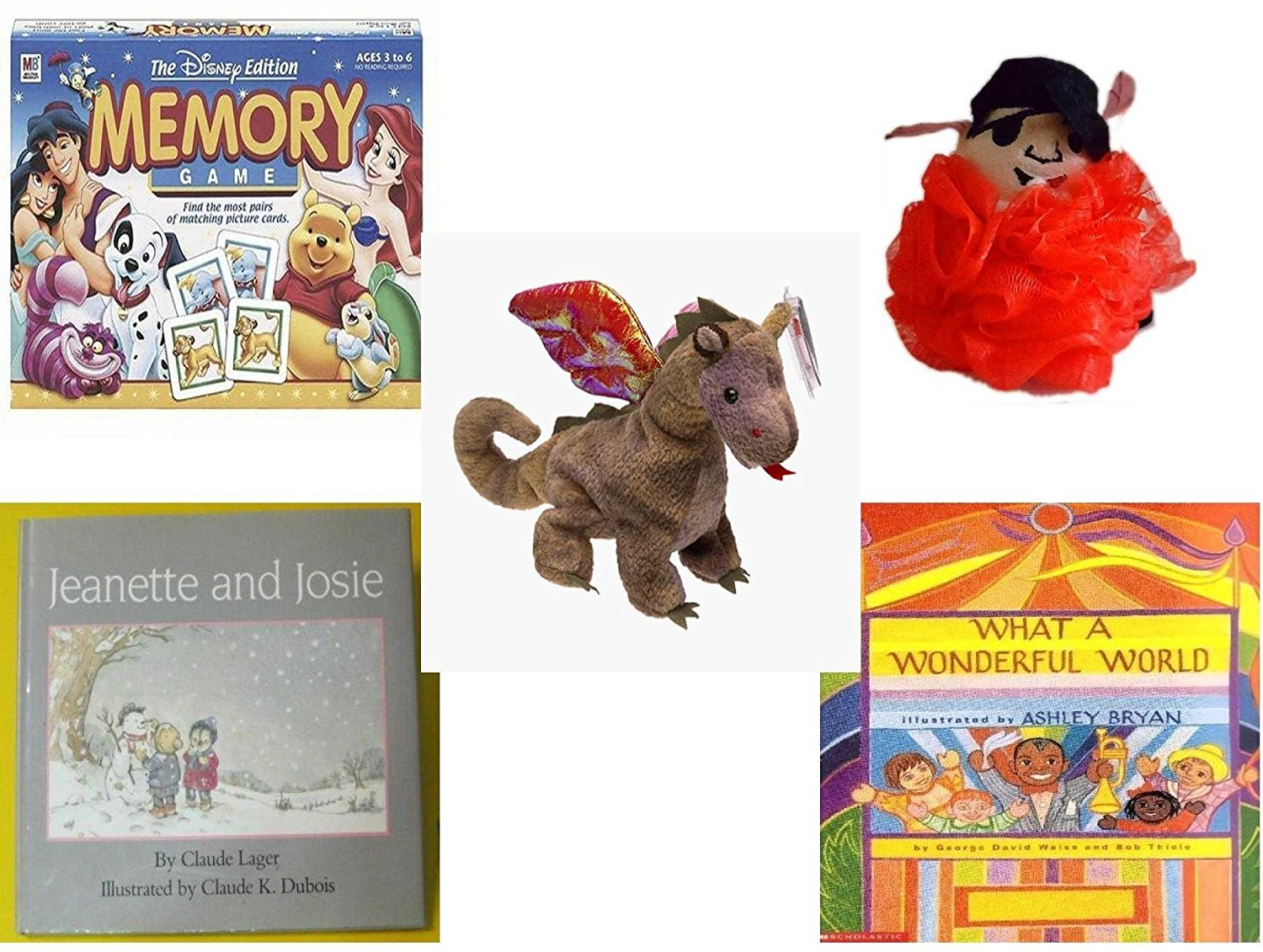 Children's Gift Bundle - Ages 3-5 [5 Piece] - The Disney Edition Memory Game - The Wiggles Captain Feathersword Net Bath Sponge - Ty Beanie Baby - Scorch the Dragon - Jeanette and Josie Hardcover Bo