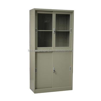 Customized KD structure sliding door steel file cabinet with glass doors