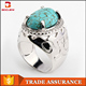 China wholesale plating rhodium newest design hand stamped man ring with turquois