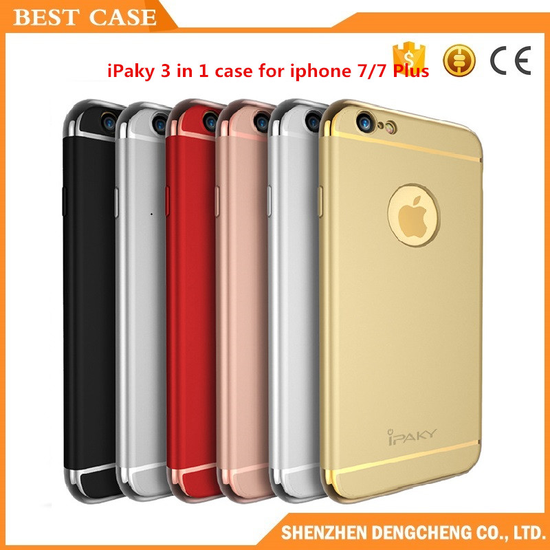Fashion combo case 3 in 1 electroplating PC cell phone case for iphone 7