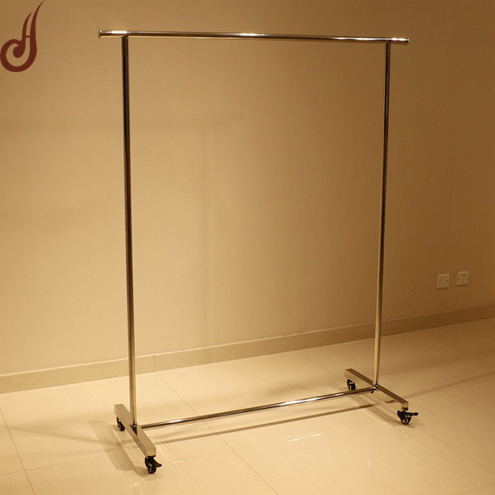 Customized size iron and stainless steel material rolling garment display racks
