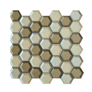Interior wall decorative tile backing mesh mosaic hexagon shaped glass tiles