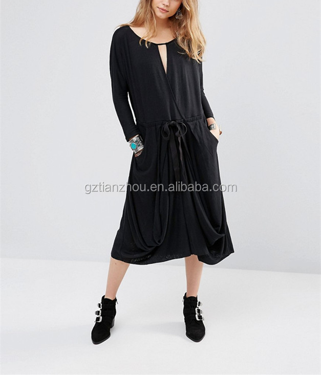 Guangzhou OEM Black Long Sleeve Casual Dress Cut-Out Wrap Maxi Dress With Drawstring Waistband