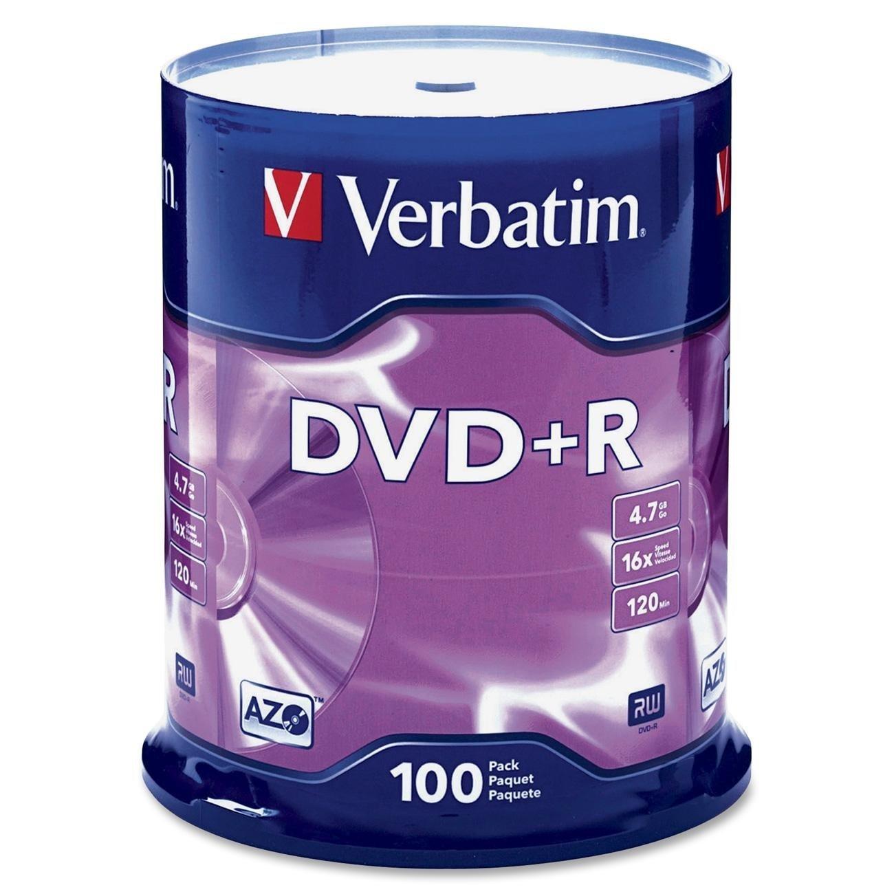 Verbatim : Disc DVD+R 4.7GB 16X General use Branded Surface 100pk SpindleBranded Surface 100pk Spindle -:- Sold as 2 Packs of - 100 - / - Total of 200 Each