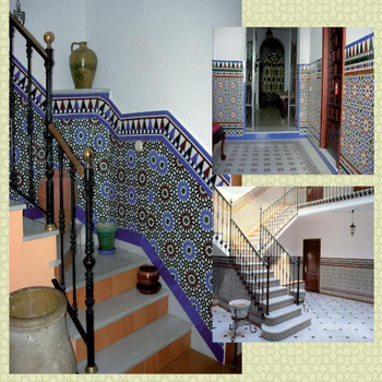 300x600mm Mid Century Antique Moroccan Style Arabic Blue Mosaic