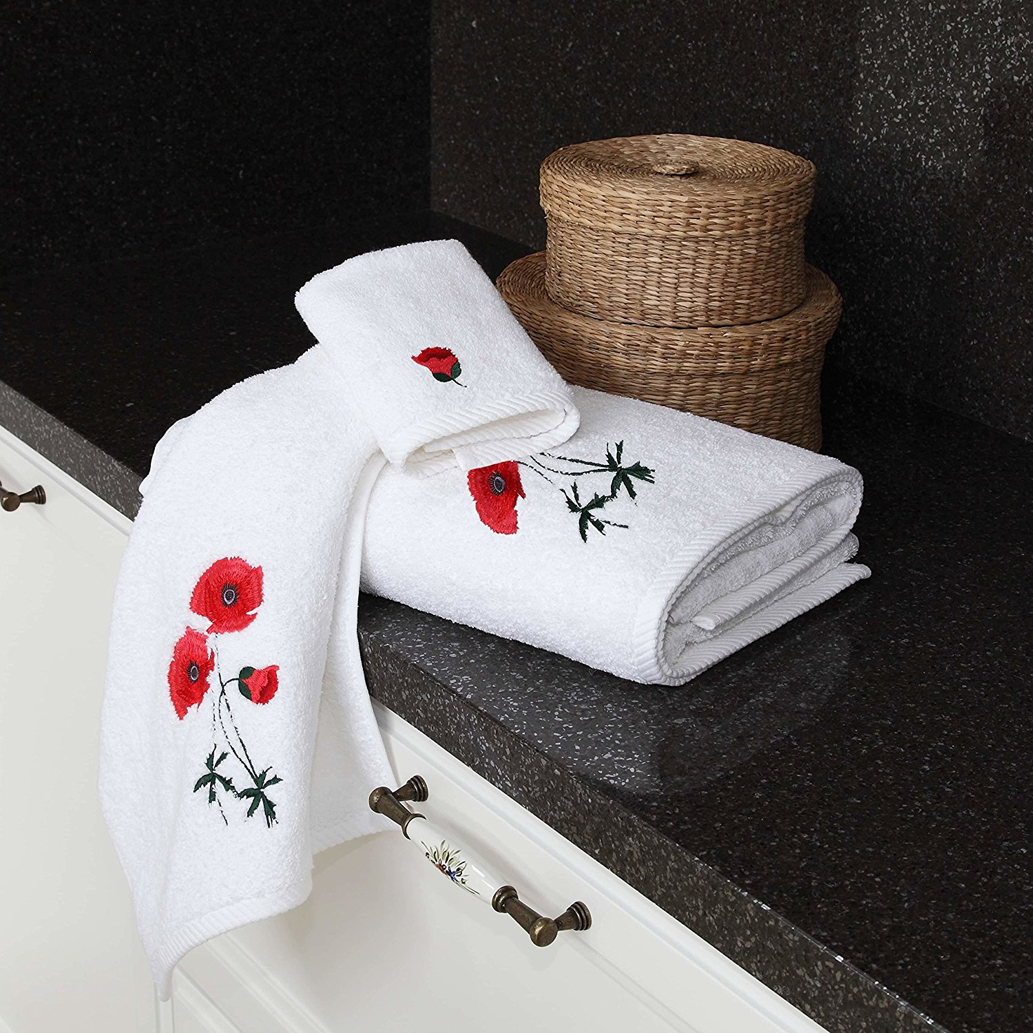 3 Piece Red Embroidered Poppy Flowers Towel Set With 27 X 54 Inches Bath Towel, Light Red Floral White Solid Color Twist Weave Natural Dobby Weave Border Double Stitched Edge Towels, Turkish Cotton
