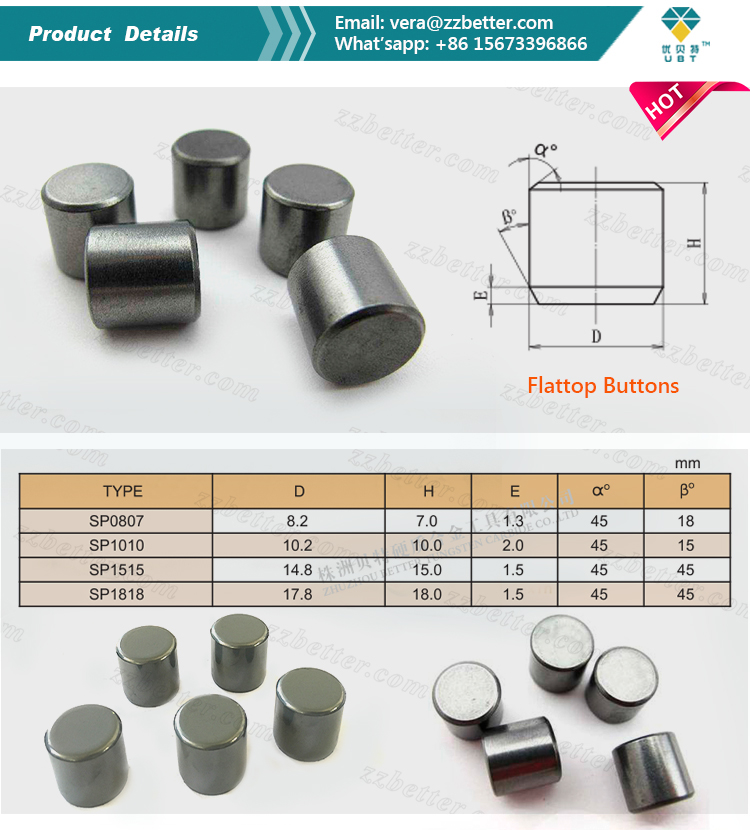 Cemented carbide flattop buttons