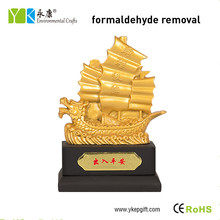 Creative golden boat 3D shape activated carbon personalized car hanging ornament