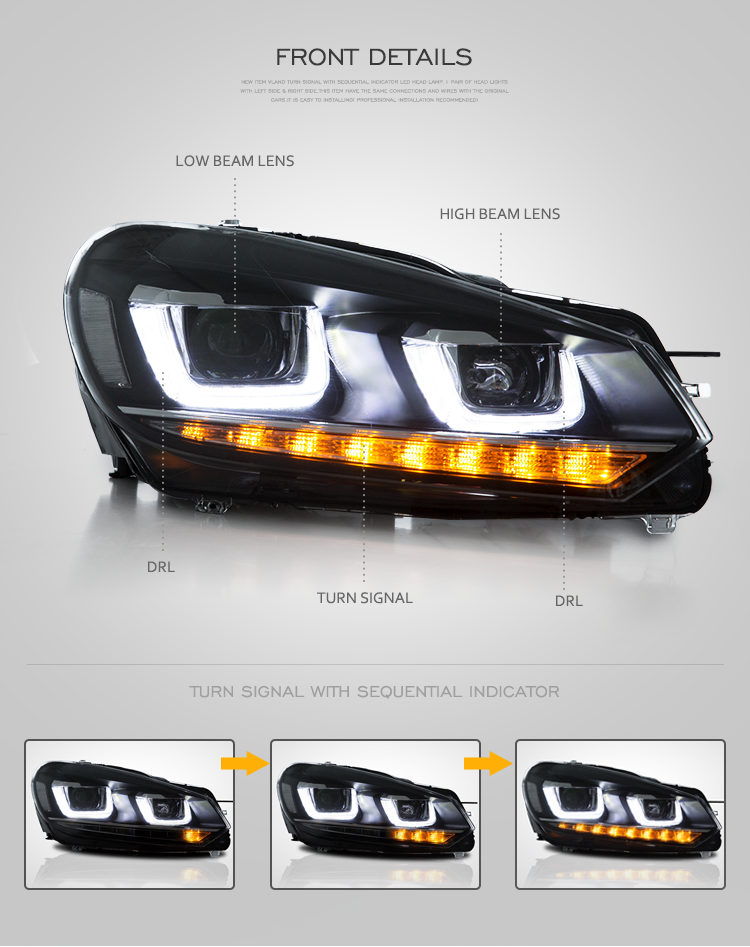 VLAND wholesales sequential golf mk6 head lamp 2008 -2013 golf 6 led headlight