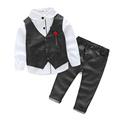 Fashion 2016 new The boy gentleman 3pcs set baby boy clothes long sleeve t shirt Vest