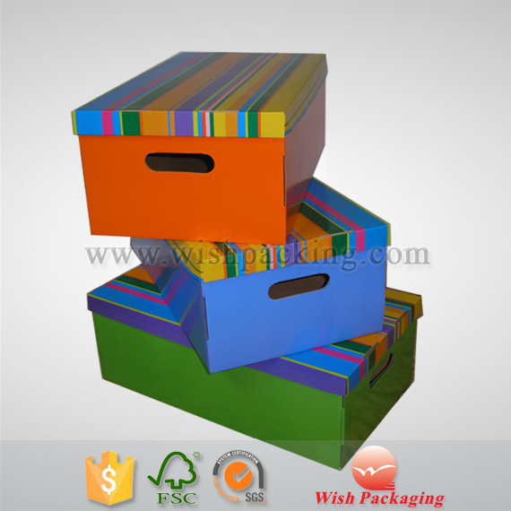Home Storage single layer wall flute paper box foldable corrugated cardboard carton