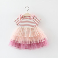 New spring summer Baby Girl Dress striped tutu Party Wedding Fashion Dress,Princess dress for Girl