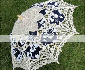 hook handle Antique battenburg lace wedding parasol and fan set