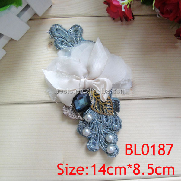 BL 0187 handmade unique fabric sequined beaded flower for garments decoration