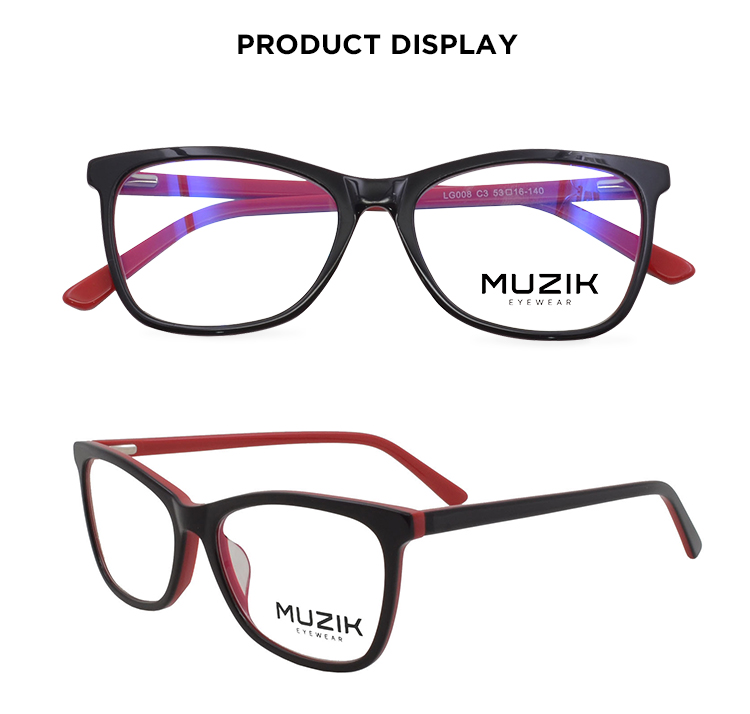 LG008 high quality blue light blocking acetate optical eyewear glasses frame