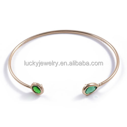 2016 Hot Sale Elegant Luxury Vogue Fahion Gold Jewellery Bangles Green Glass Bangle for Wholesale
