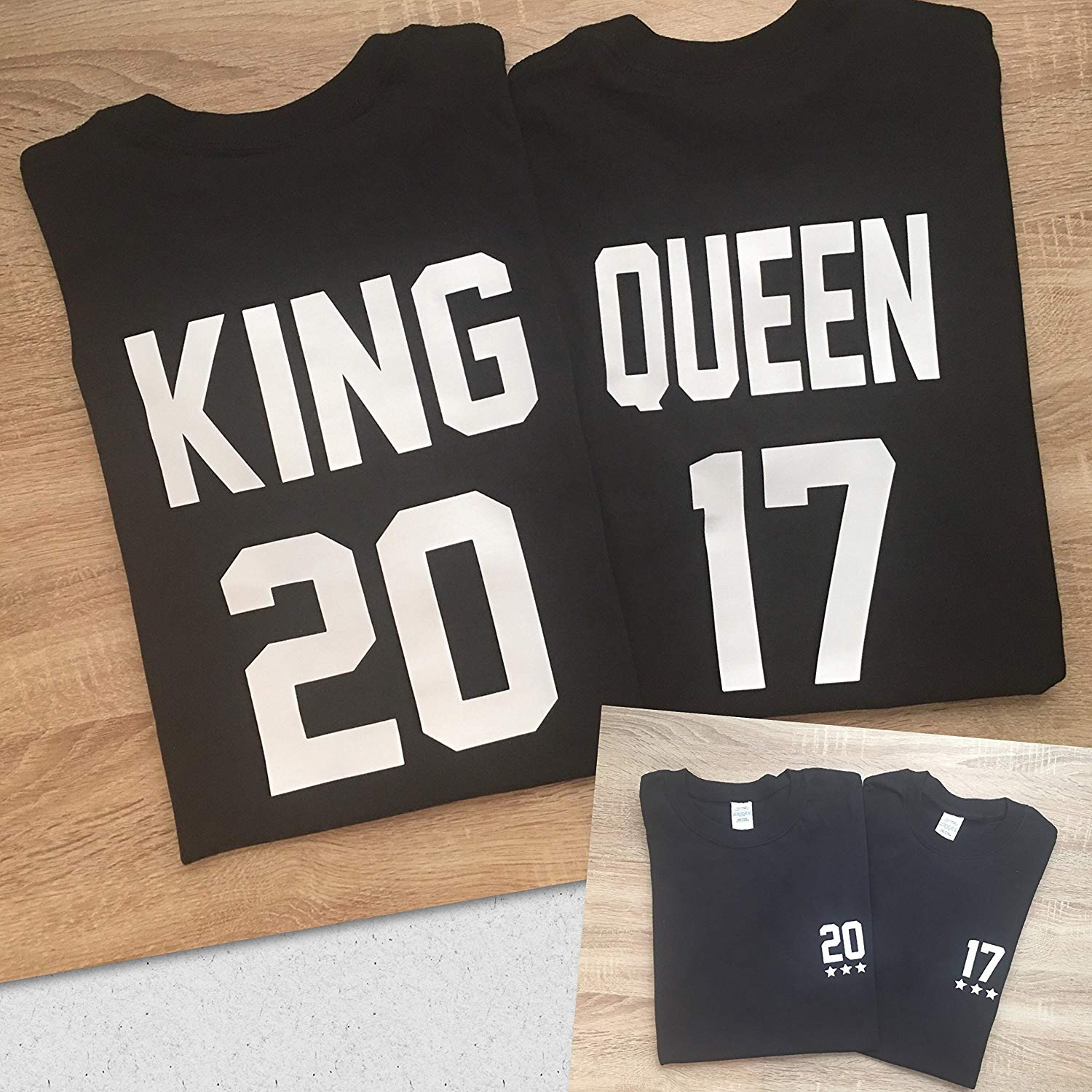 e7792408d7 Get Quotations · King & Queen Custom Numbers Personalized Couple T Shirt -  Funny Matching Couples T-Shirts