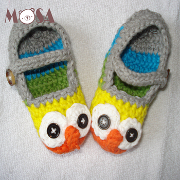 a6135116d Baby Shoes Crochet Soft Cotton Owl Booties In Gray And Yellow Cute ...