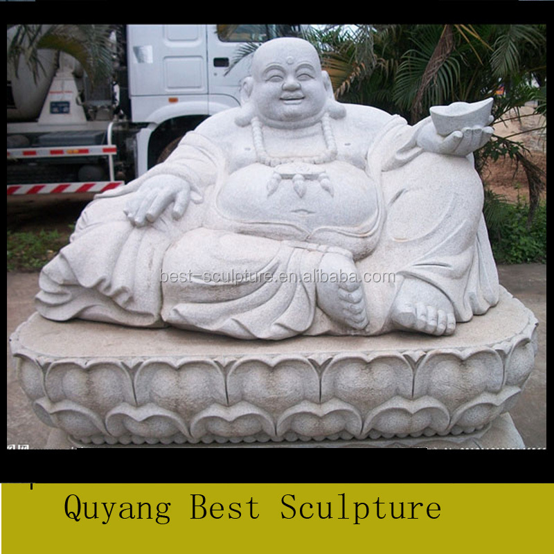 Stone Carving Statue Sculpture of Marble Laughing Budda for Sale