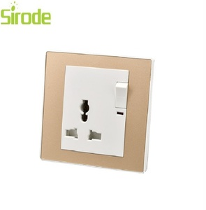 BS standandard golden 13A multi function switched socket with neon