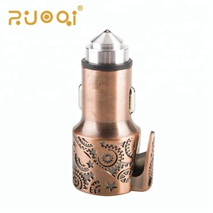 High Quality Bronze Color Zinc Alloy Dual Usb Car Charger