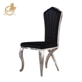 Black Velvet Stainless Steel Legs Dining Chair