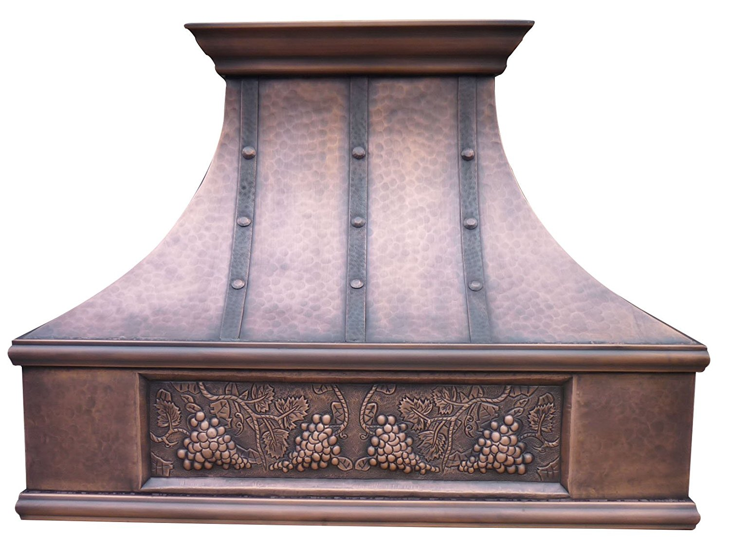 """Sinda Copper Range Hood with High Airflow Centrifugal Blower, Includes SUS 304 Liner and Baffle Filter, High CFM Vent Motor, Wall/Island / Ceiling Mount, Width 30,36,42,48 in (W48""""xH36""""Wall)"""
