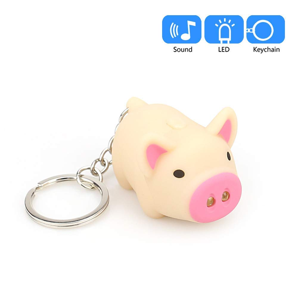 Mini LED Keychain Flashlight, Ultra Bright Key Ring Light Torch, Cute Cartoon Pig Keychain with LED Light and Sound Keyfob Kids Toy Gift (Yellow)