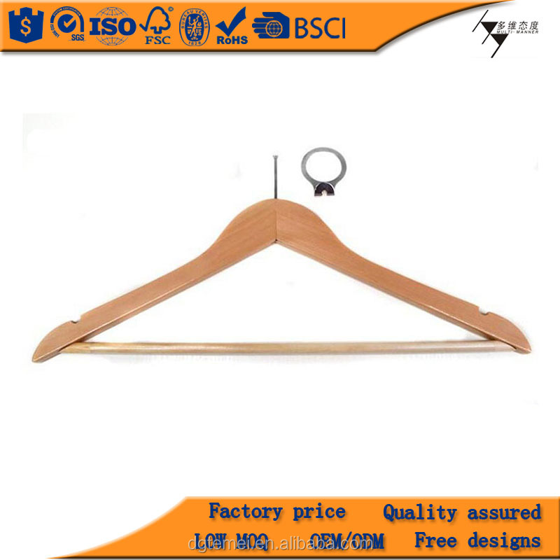 Unique Hangers unique hotel anti-theft hangers with rings,natural anti-theft