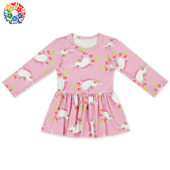 943d5844 Wholesale Baby Girls Fall Boutique Formal Dress Pink Unicorn Short Skirt Dress  Shirt