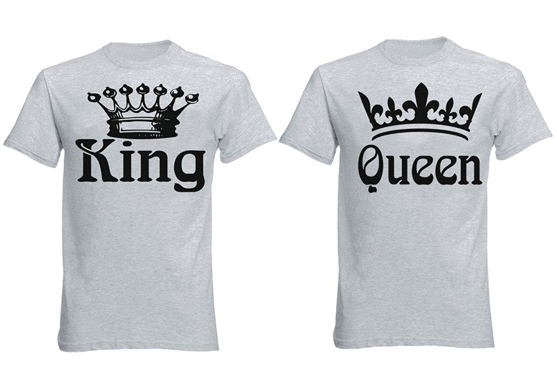 e5c5d564de FASCIINO Matching Couple T-Shirt Set - King and Queen Crowns ( Heather Gray)
