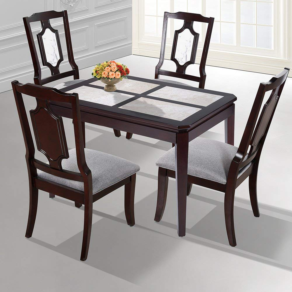 """SLEEPLACE SVC30TB03D 44"""" NATURAL Marble Dining table/ Solid Wood/ Round Edge, Dark Brown & White"""