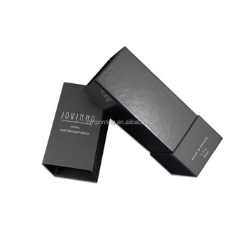 wholesale luxury custom logo high quality mysterious black drawer type cardcoard packaging paper perfume box