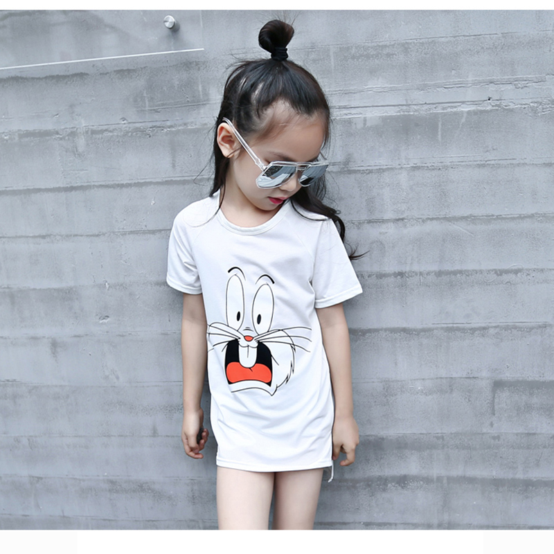 Korea style casual cotton little girls one-piece dress