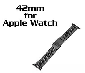 ** Classic Black ** [ 42mm ] - Apple Watch Band Solid Stainless Steel Metal Apple Watch Strap Business Series Replacement iWatch Strap Watchband with Durable Folding Clasp