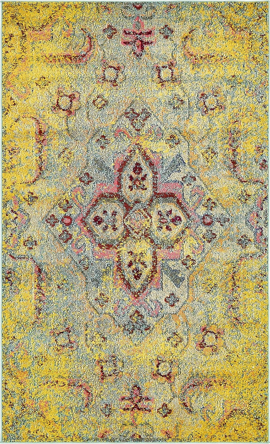 A2Z Rug Modern Contemporary & Traditional Design Rugs, Yellow 5' x 8'-Feet Milano Collection Area rug