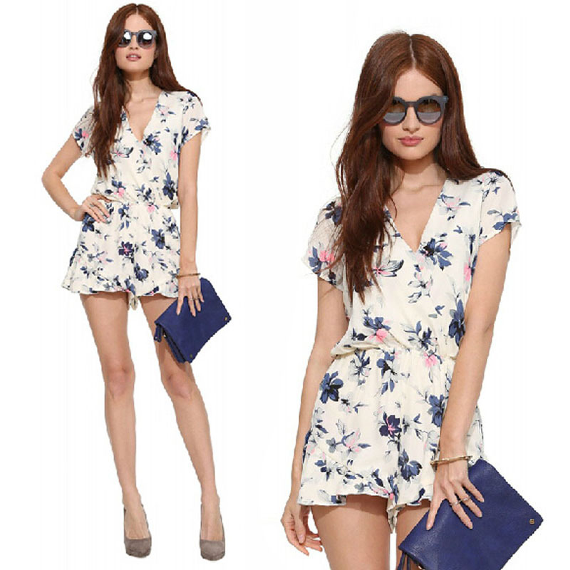19df3dd25b6 Get Quotations · 2015 Summer Style White Elegant Floral Prints V-necked  Short Jumpsuits Ladies Chiffon Short Mono